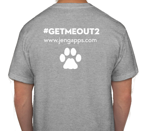 A male model in a grey shirt with the get me out 2 hashtag and slogan